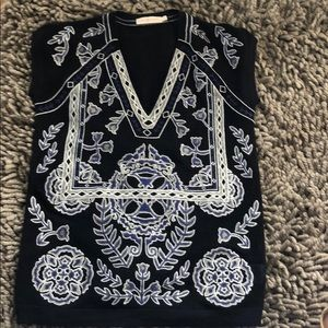 Tory Burch cap sleeve embroidered sweater